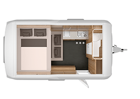 Knaus Deseo Caravan - Layout Sleeping